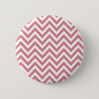 Coral and White Chevron Zigzag Pattern 2 Inch Round Button