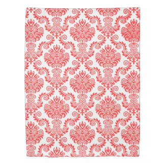 Coral and White Damask Pattern{pick your color} Duvet Cover