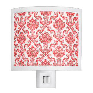 Coral and White Damask Pattern{pick your color} Nite Light