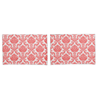 Coral and White Damask Pattern{pick your color} Pillowcase