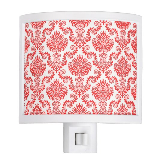 Coral and White Damask Pattern{pick your colour} Nite Light