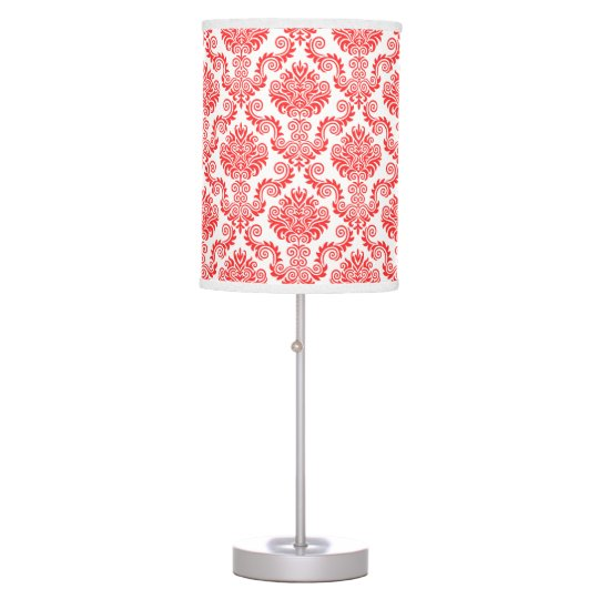 Coral and White Damask Pattern{pick your colour} Table Lamp