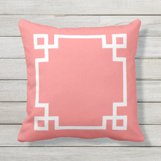 Coral and White Greek Key Throw Pillow