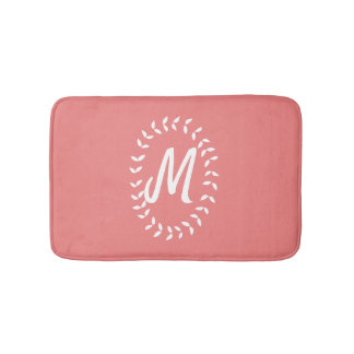 Coral and White Monogrammed Bath Mat
