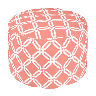 Coral and White Octagon Link Lattice Pattern Pouf
