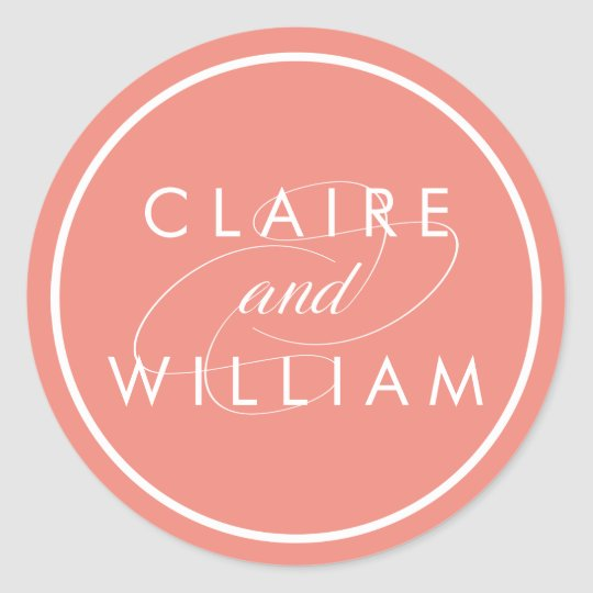Coral and White Personalized Wedding Classic Round Sticker