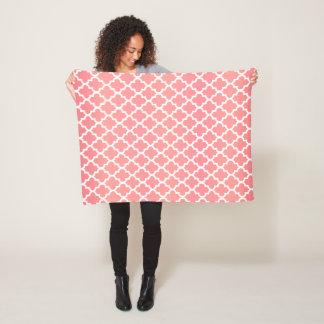 Coral and White Quatrefoil Pattern Fleece Blanket
