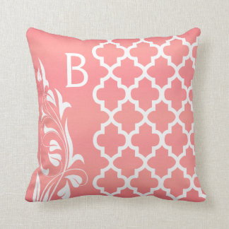 Coral and White Quatrefoil Pattern Throw Pillow