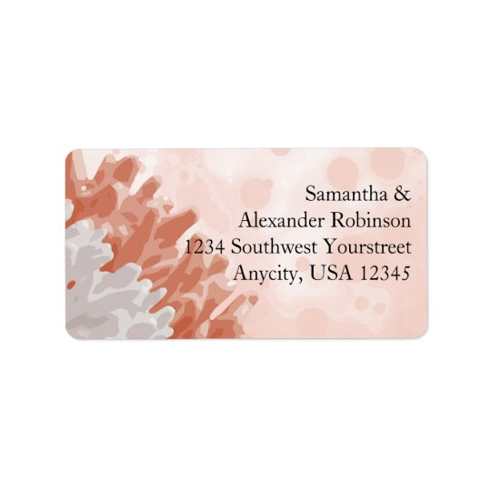 Coral and White Reef Label