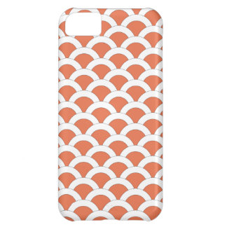 Coral and White Scalloped Shells Pattern Cover For iPhone 5C