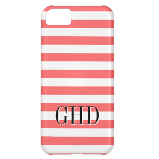 Coral and white striped monogram iPhone 5C case