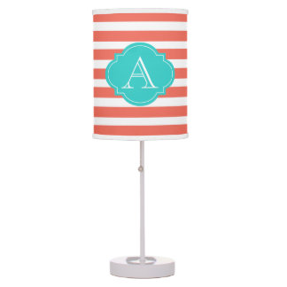 Coral And White Stripes, Aqua Monogram Table Lamp