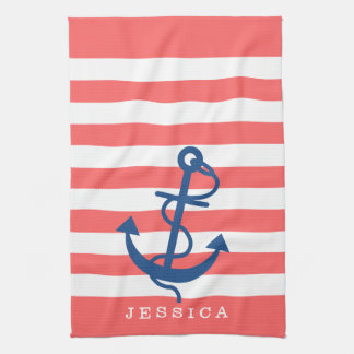 Coral And White Stripes Blue Nautical Anchor 2 Towel