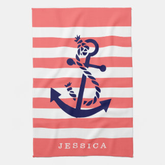 Coral And White Stripes Blue Nautical Anchor Hand Towels
