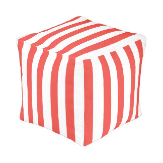 Coral and White Stripes Pouf