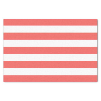 Coral and White Stripes Tissue Paper