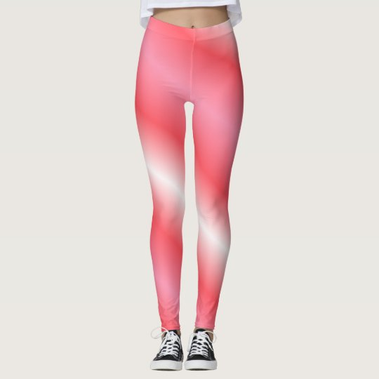Coral and White Vertical Stripe Leggings