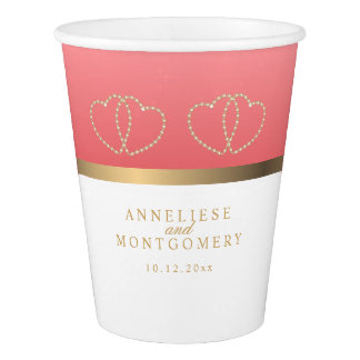 Coral and White with Gold Hearts Paper Cup