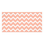 Coral and White Zig Zag Pattern. Photo Cards