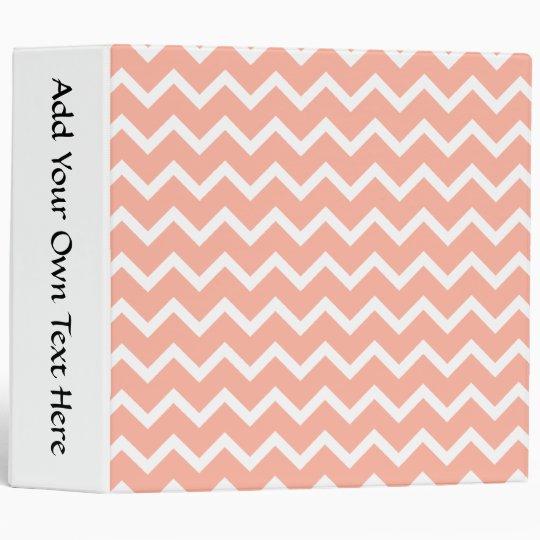 Coral and White Zig Zag Pattern. Vinyl Binder