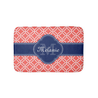 Coral and Wht Moroccan Pattern Navy Monogram Bath Mat