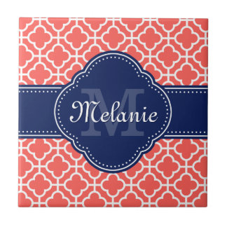 Coral and Wht Moroccan Pattern Navy Monogram Tile