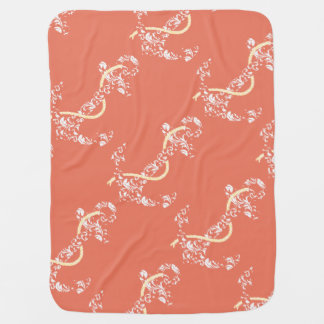 Coral and Yellow Anchor Beach Wedding Baby Blanket