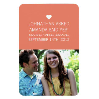 Coral Announcement Photo Save The Date Magnet