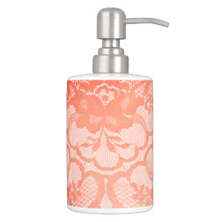 Coral Antonietta Princess Royal Floral Lace White Soap Dispenser And Toothbrush Holder