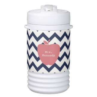 Coral Apple Navy Chevron Teacher Beverage Cooler