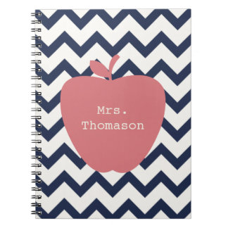 Coral Apple & Navy Chevron Teacher Notebooks
