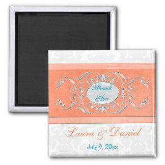 Coral, Aqua, and Gray Damask Wedding Favor Magnet