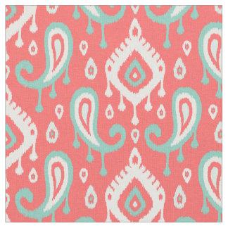 Coral Aqua and Mint Ikat Paisley Fabric