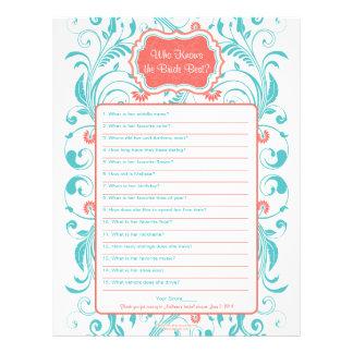 Coral Aqua Floral Bride Best Bridal Shower Game Customized Letterhead
