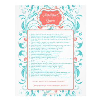 Coral Aqua Floral Newlywed Game Bridal Shower Game Customized Letterhead