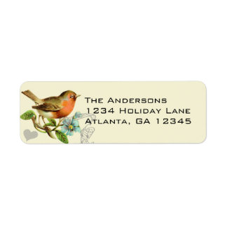 Coral & Aqua Musical Vintage Bird Return Address Return Address Label