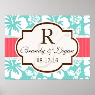 Coral, Aqua Tropical Wedding Poster