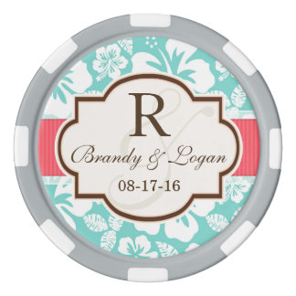 Coral, Aqua Tropical Wedding Set Of Poker Chips