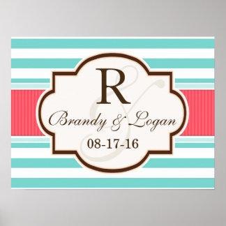Coral, Aqua, & White Stripes Wedding Poster