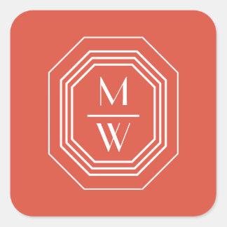 Coral Art Deco Monogram Square Sticker