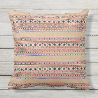 Coral Aztec Tribal Pattern Outdoor Pillow