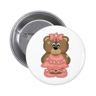 Coral Ballerina Bear Pinback Buttons