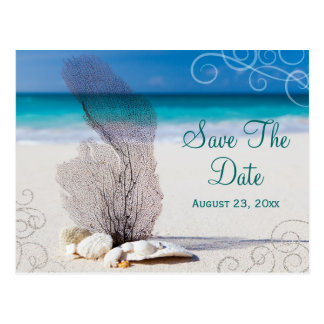Coral Beach Save the Date Destination Wedding Card Postcard