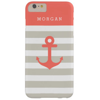 Coral Beige Strips - Cute Nautical Anchor Monogram Barely There iPhone 6 Plus Case