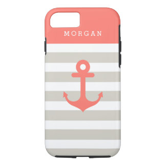 Coral Beige Strips with Nautical Anchor Monogram iPhone 7 Case