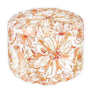 CORAL BIG SUNSHINE Floral Watercolor Pouf