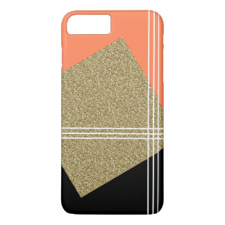 Coral, Black and Gold Square iPhone 8 Plus/7 Plus Case
