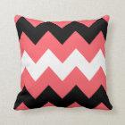 Coral, Black and White Chevron Pattern Throw Pillow