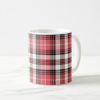 Coral, Black and White Girly Plaid Coffee Mug