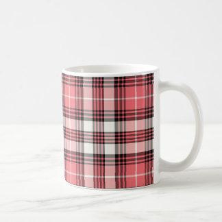 Coral, Black and White Girly Plaid Coffee Mug